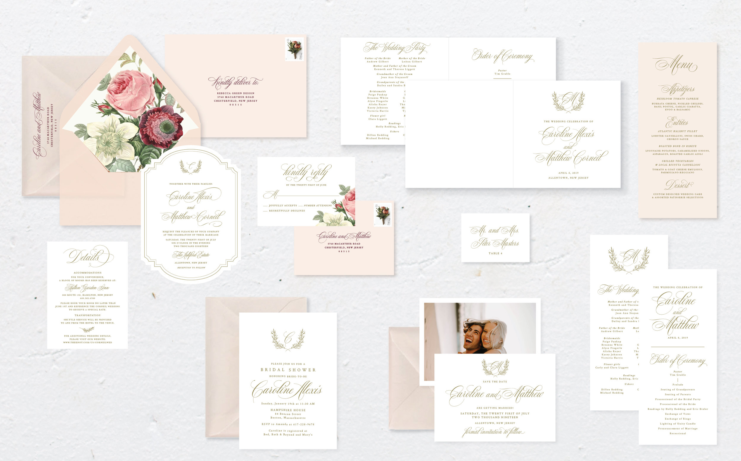 Bluch and Gold Vintage Wedding Invitation Suite