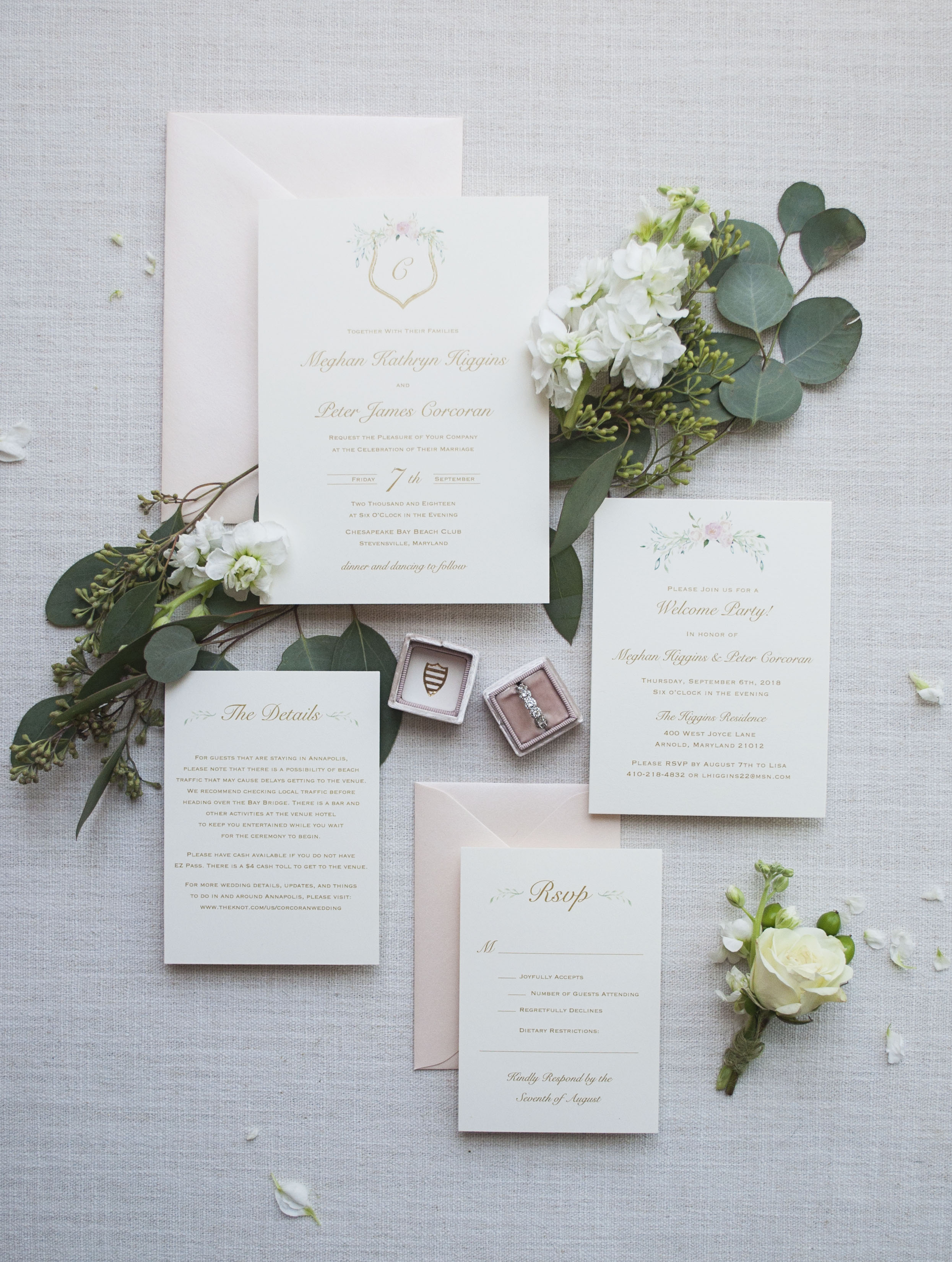 Blush and Gold Wedding Invitation Suite