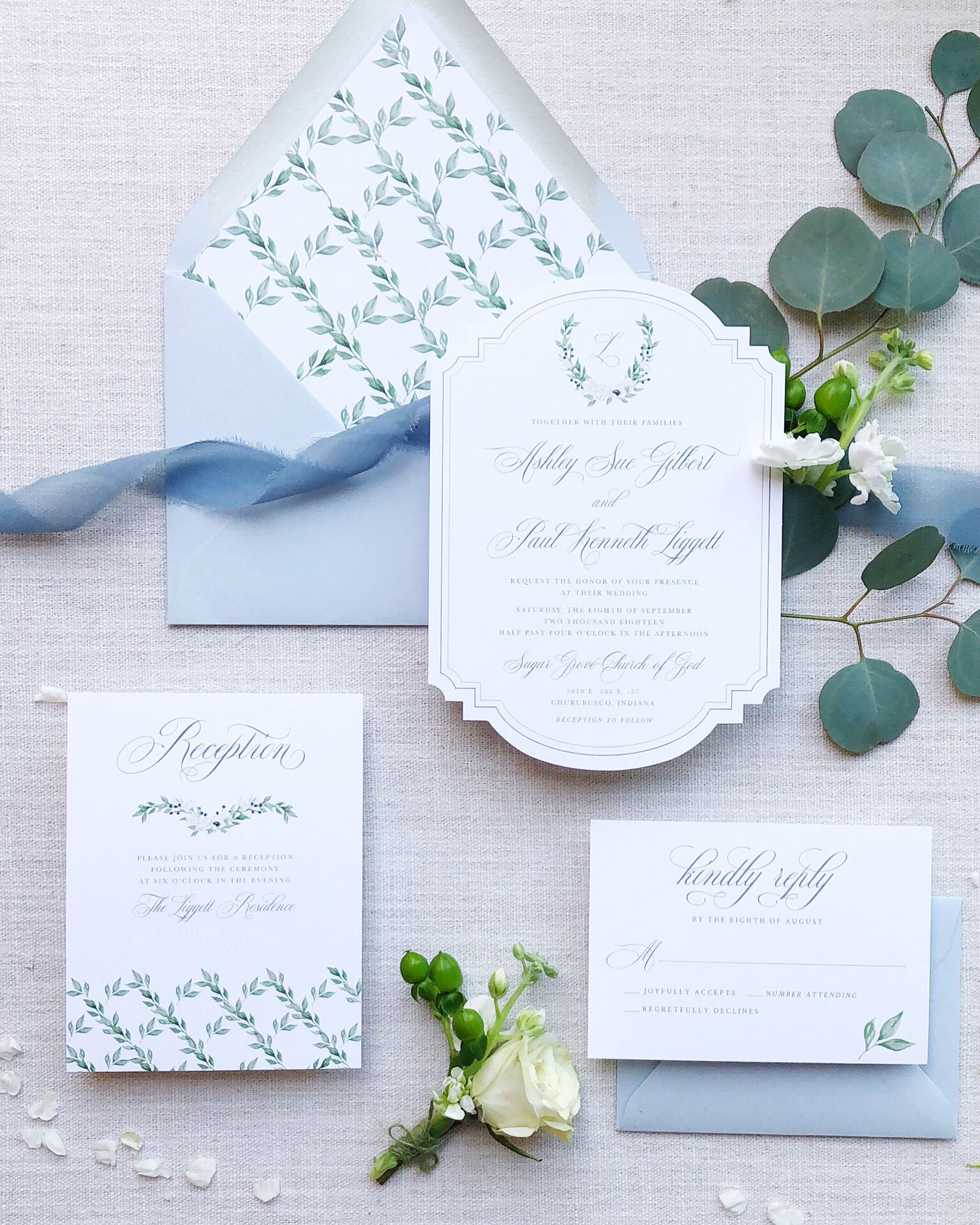 dusty blue and grey wedding invitation suite