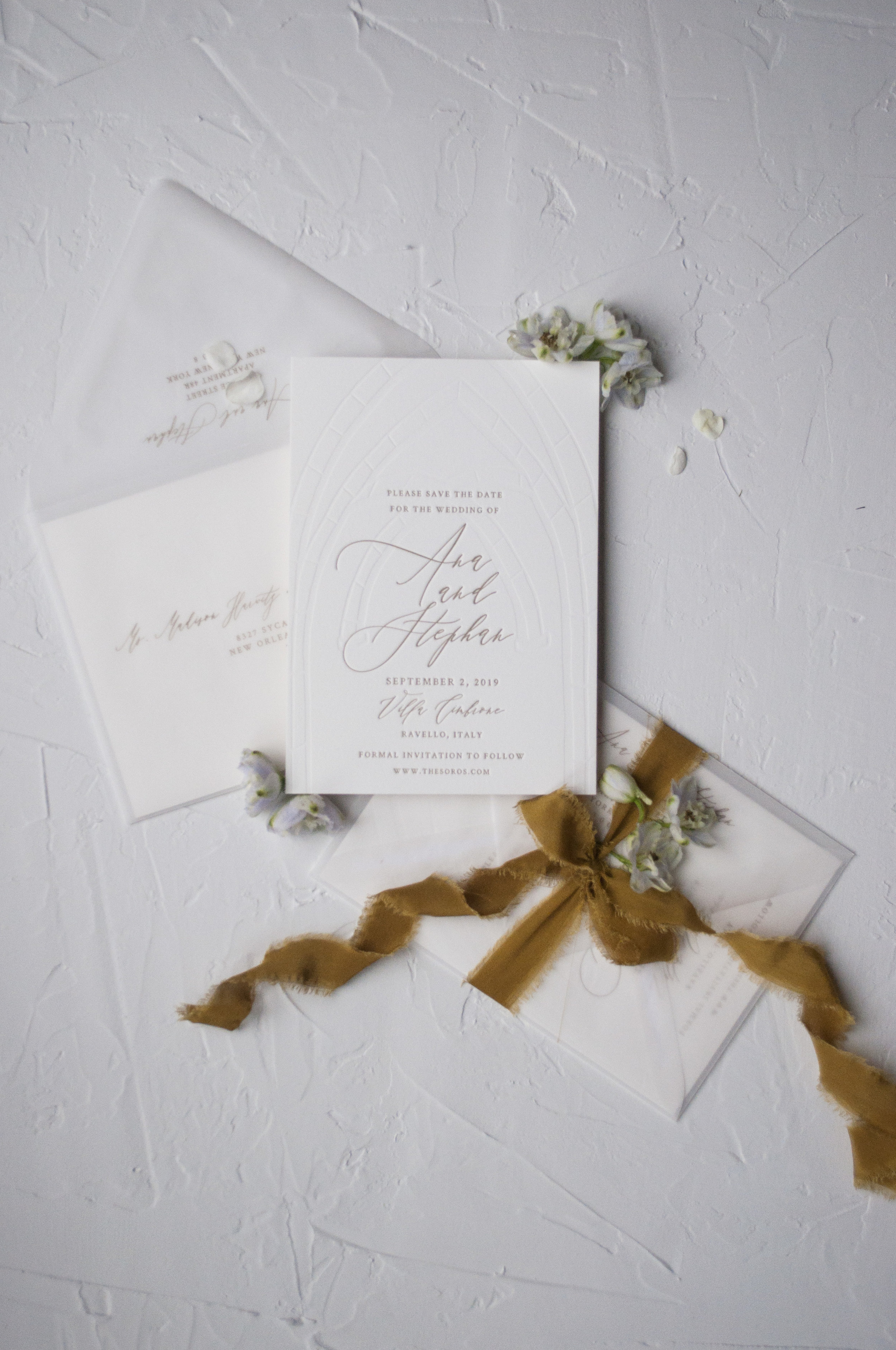 Gold Letter and Blind Debossed Save the Date Italy Wedding