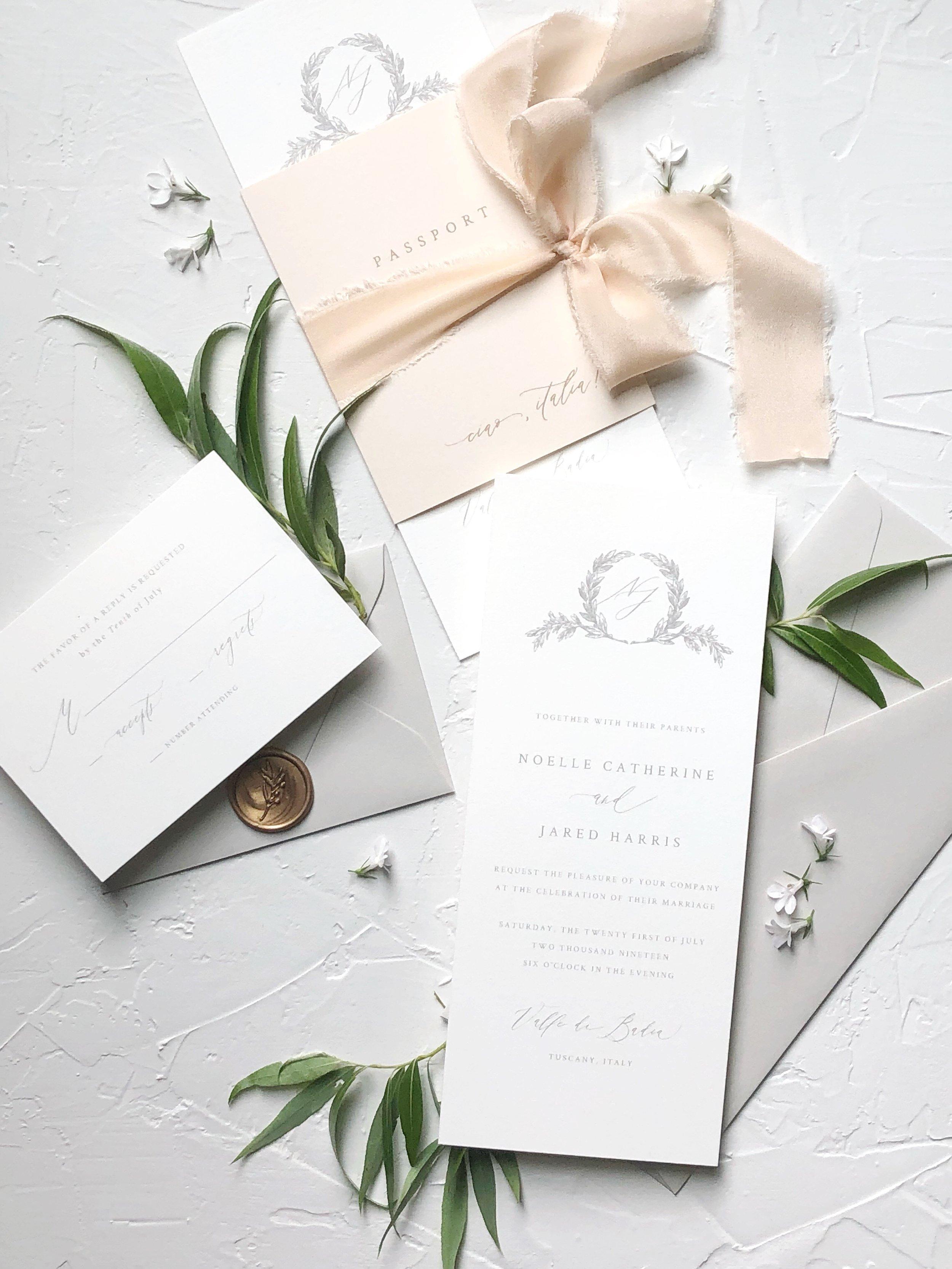 Italian destination wedding invitation suite