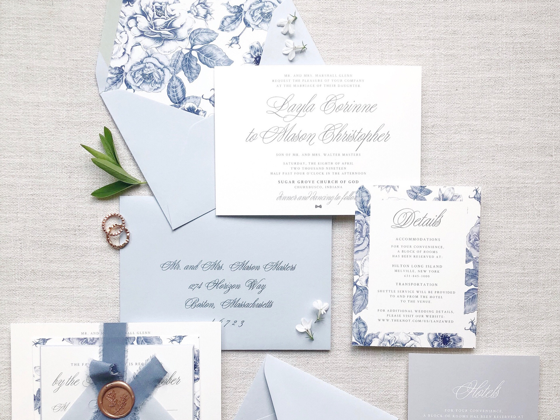 The Layla - The perfect mix of sophistication and whimsy, the Layla Suite features a classic script & blue and white florals reminiscent of a classic Chinoiserie pattern.