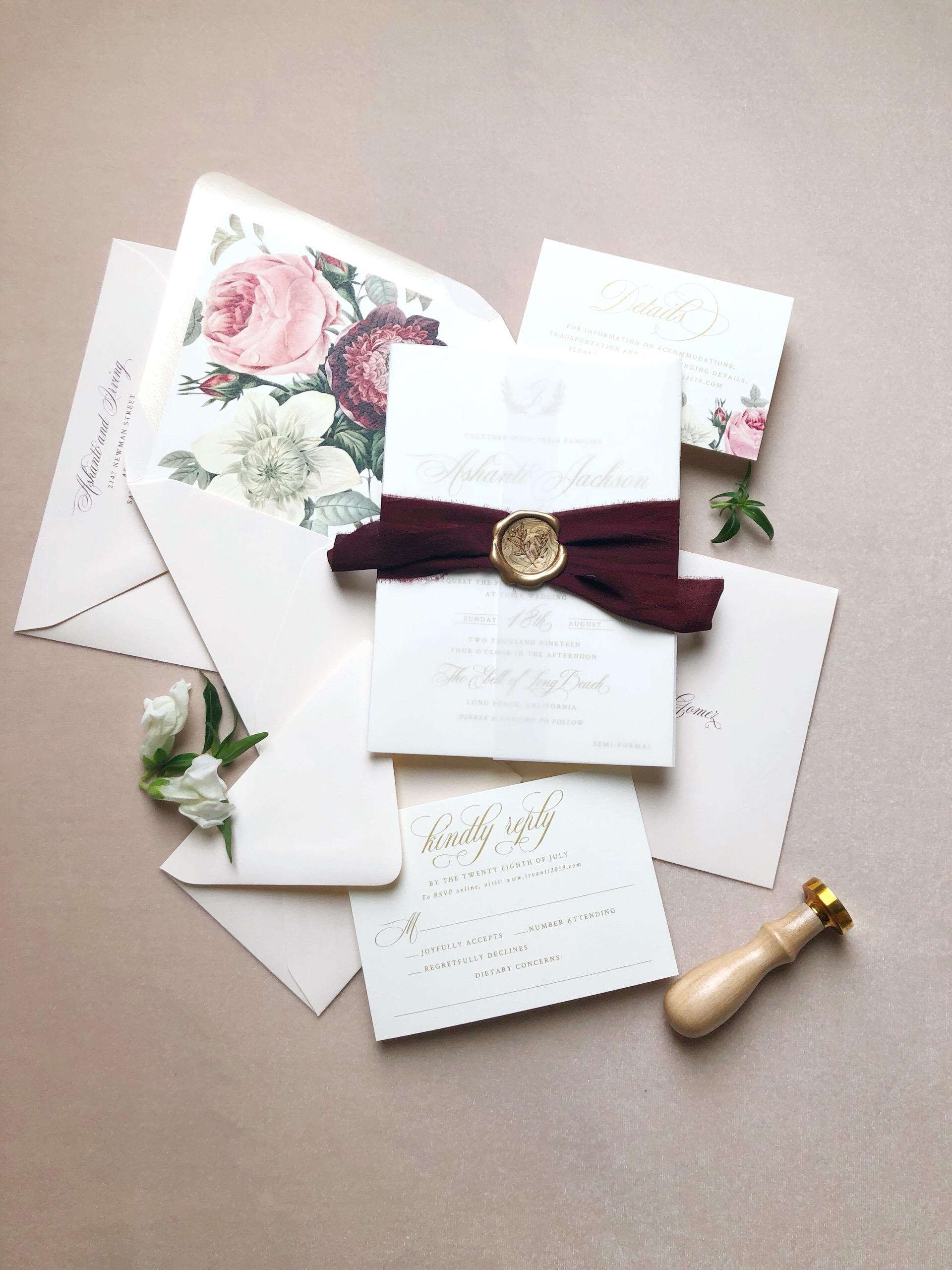 Blush and Gold Vintage Floral Invitation Suite