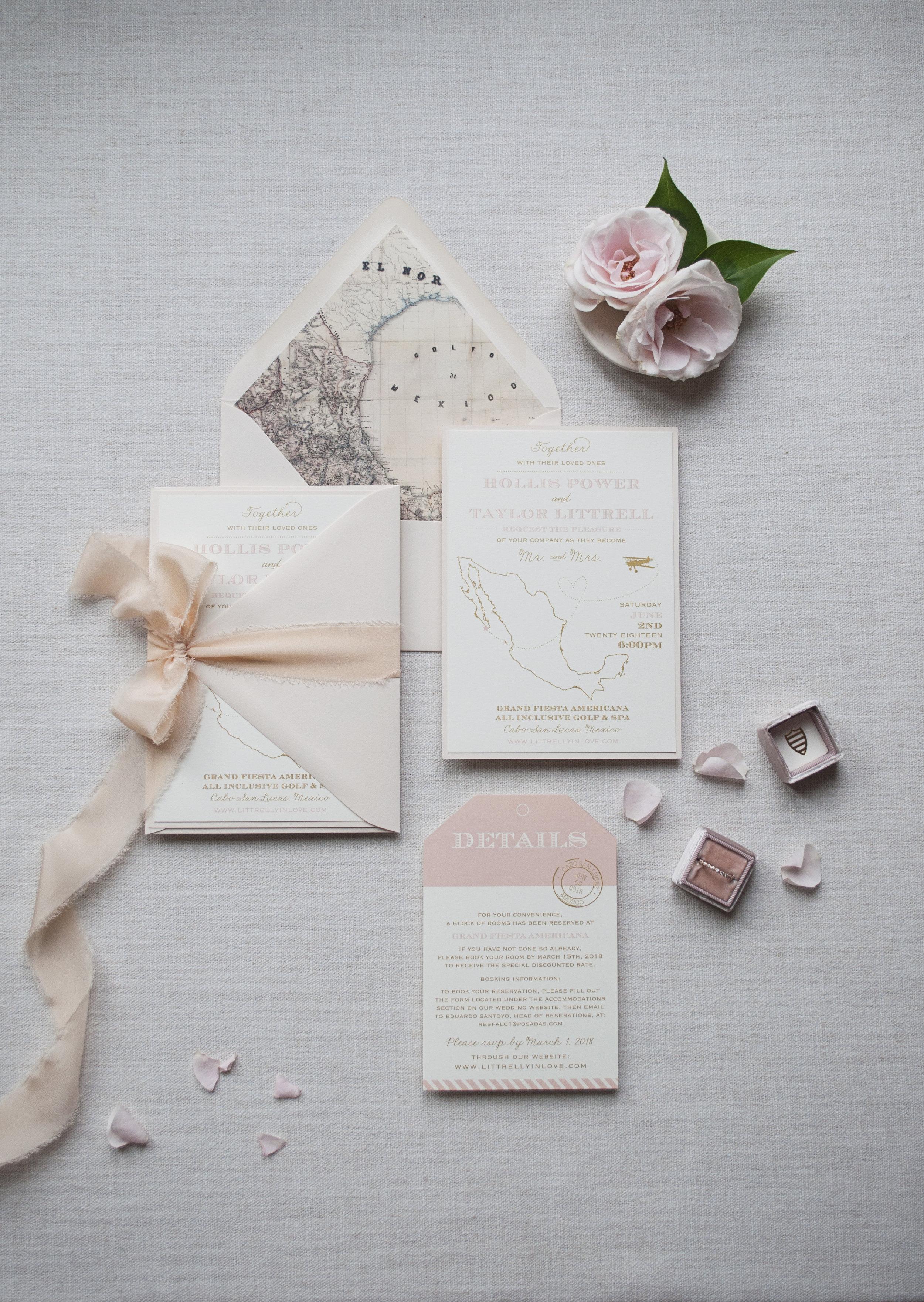 Blush and Gold Destination Wedding Invitation Suite