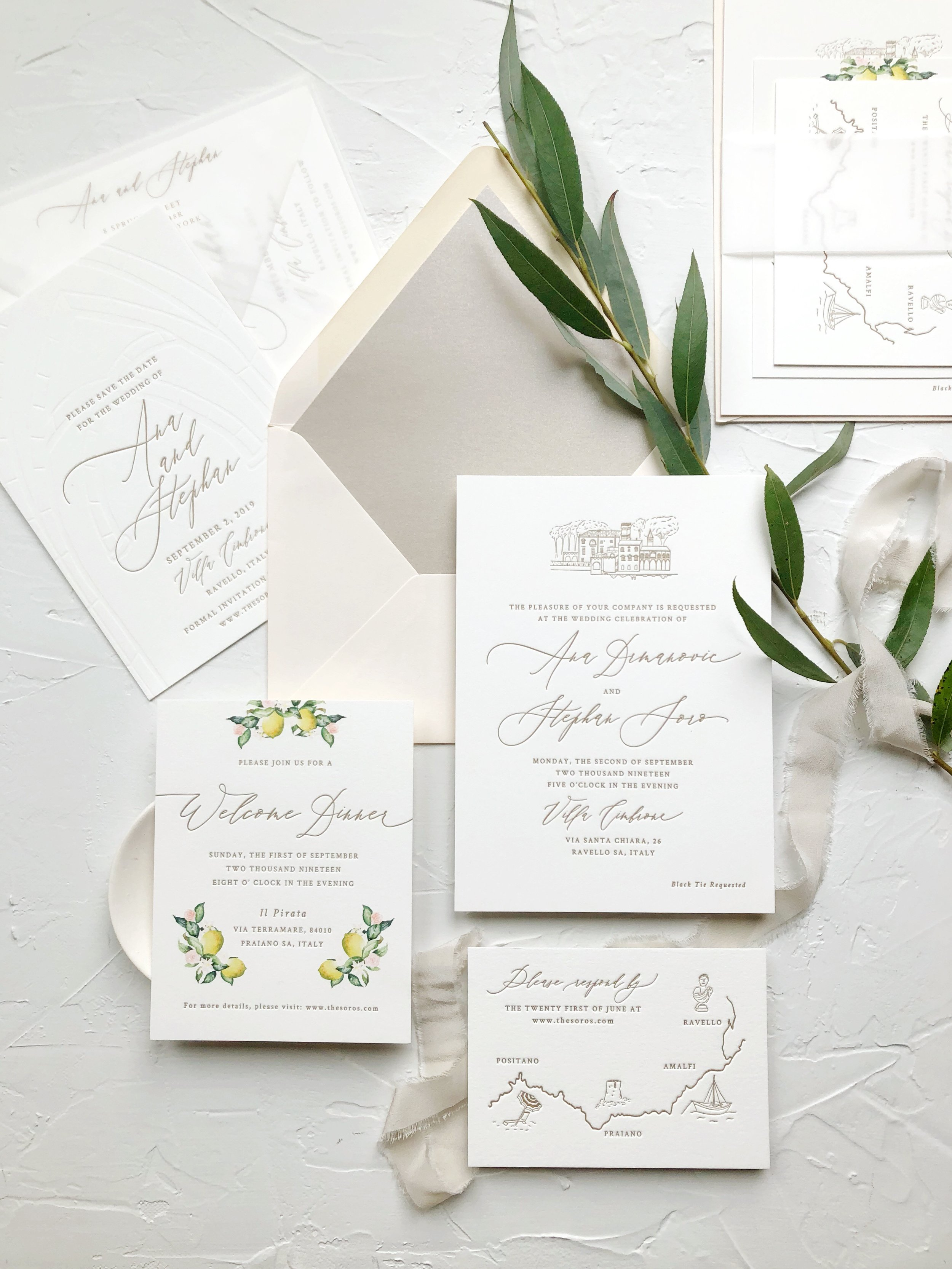 Letterpress Invitation Suite with watercolor