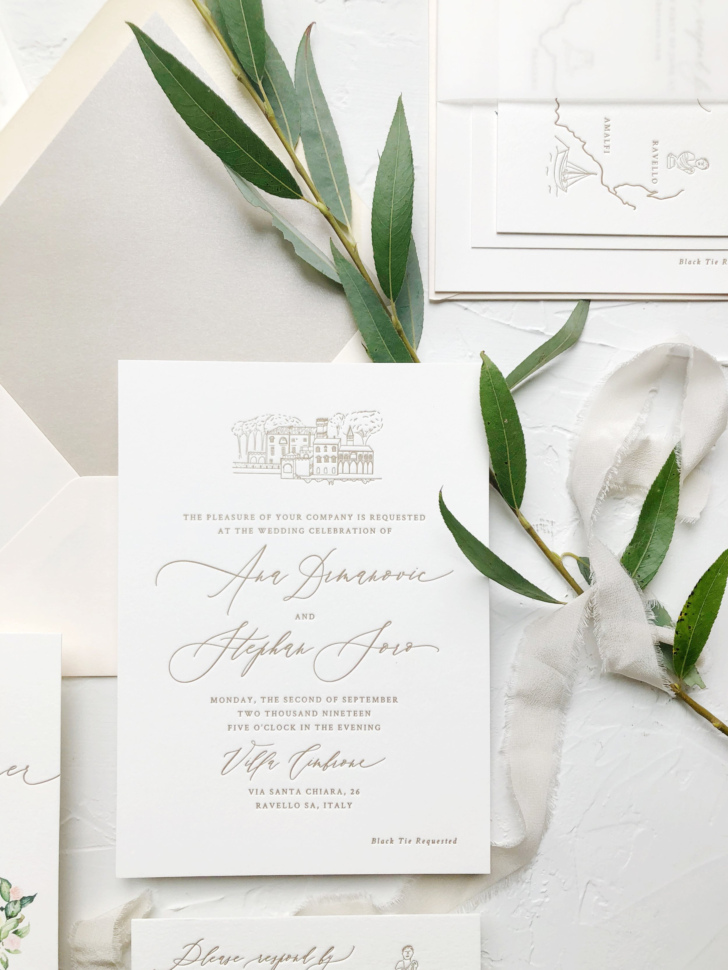 Gold letterpress invitation suite with venue illustration, italy wedding
