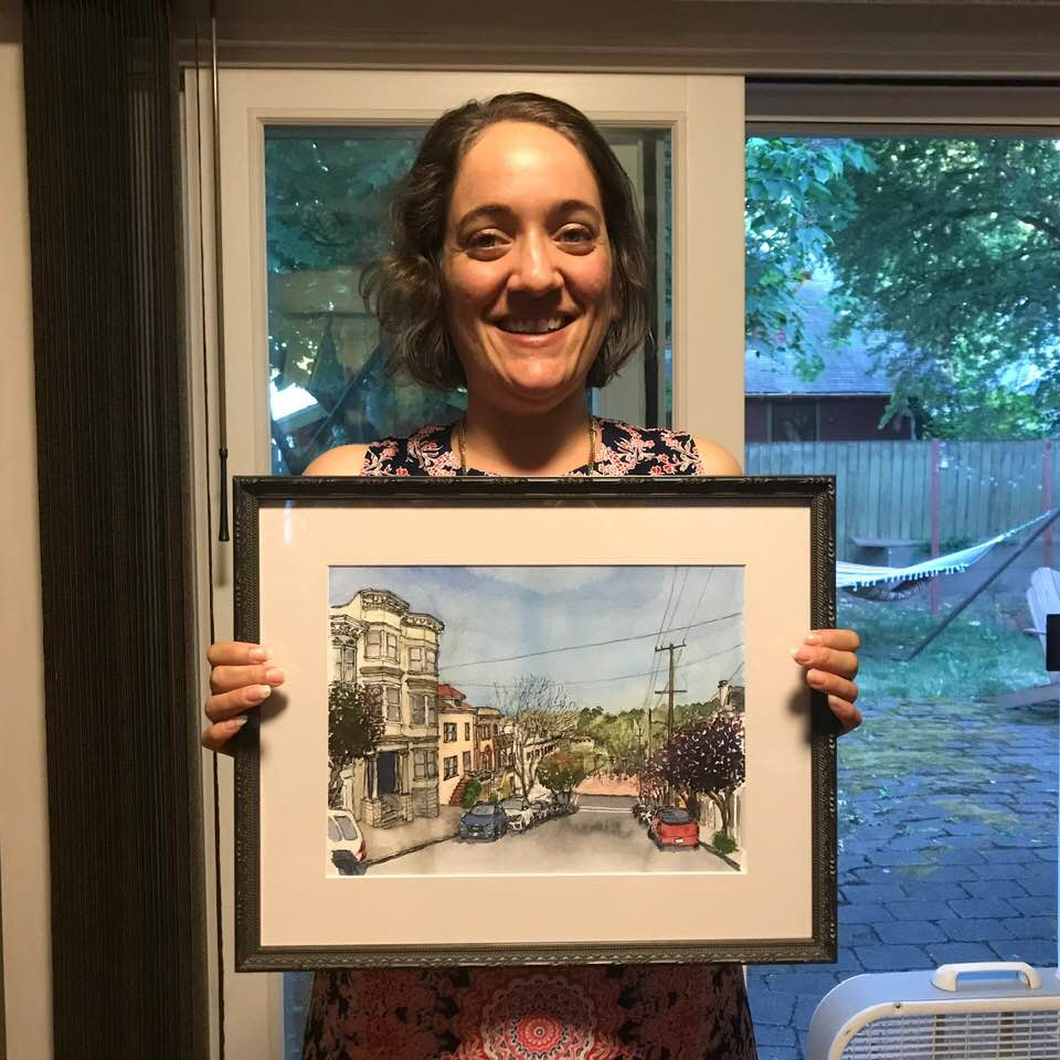 Andrew just surprised Valerie with my sketch of her old home near Kezar Stadium