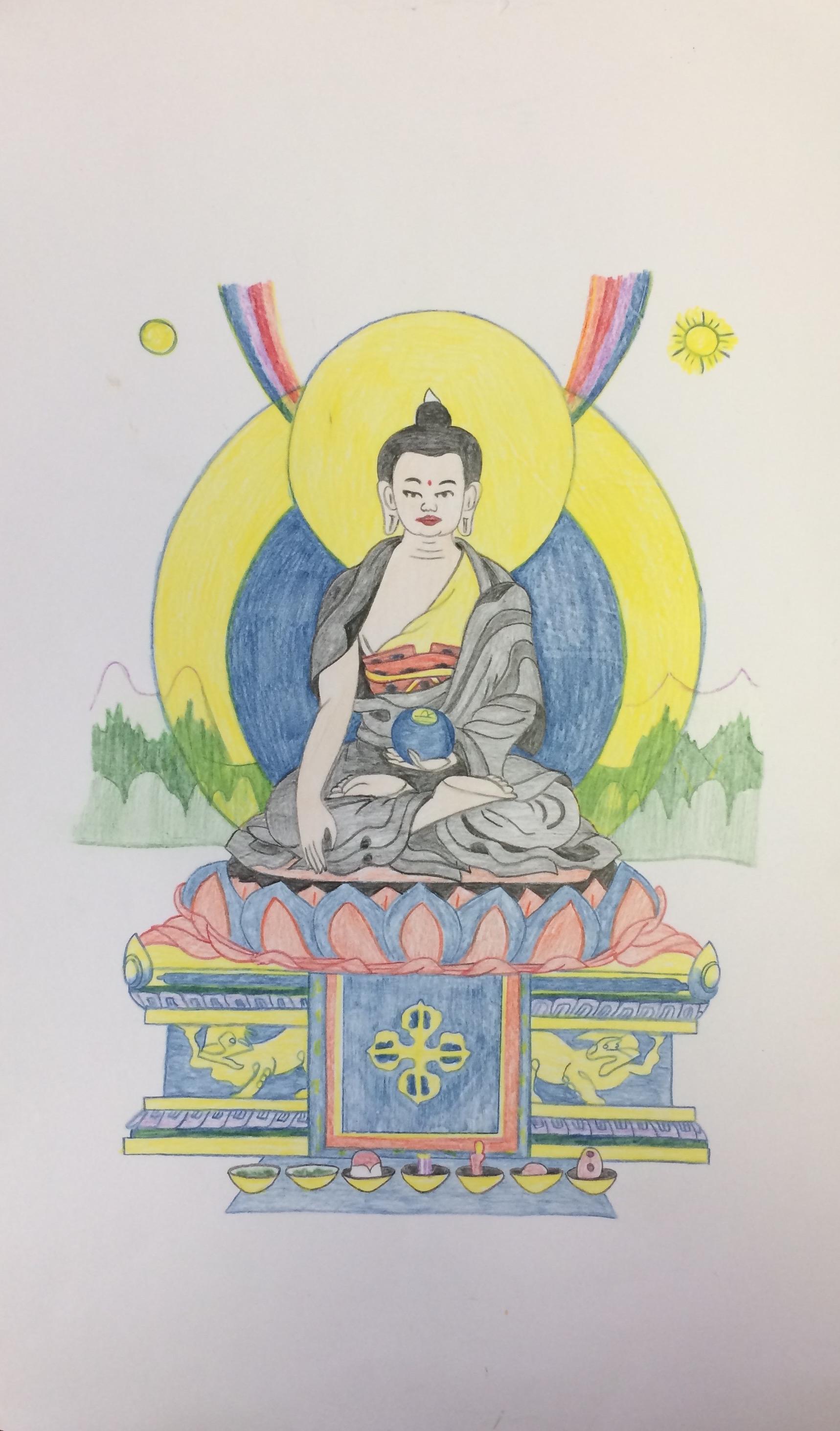 DamienEchols.shakyamuni buddha, card to Anna Cox.jpg