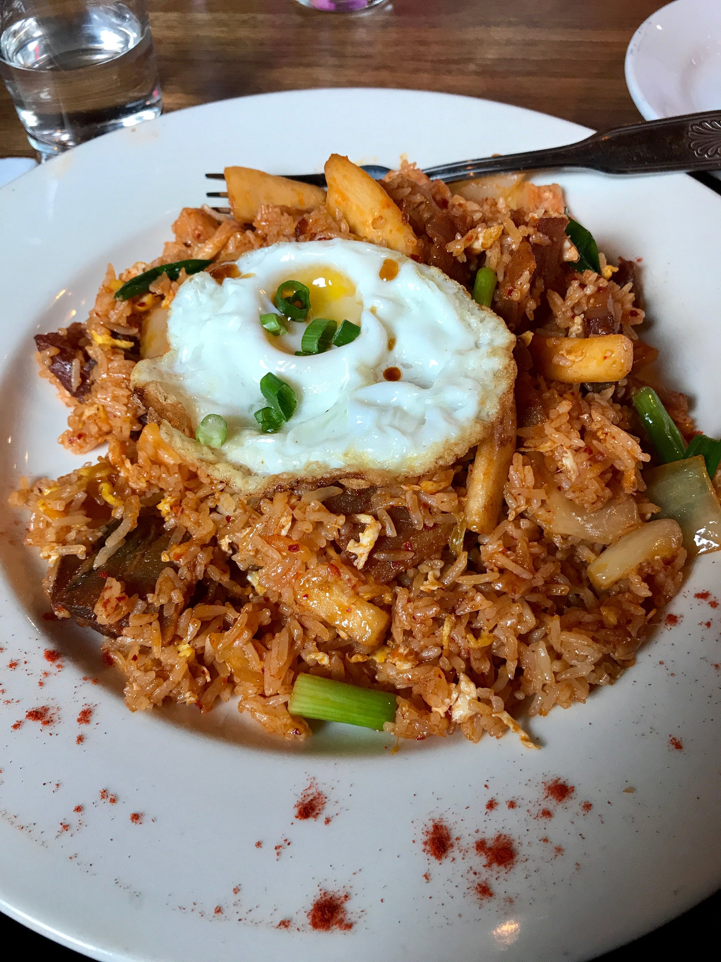 Kimchi Fried Rice with Pork Belly