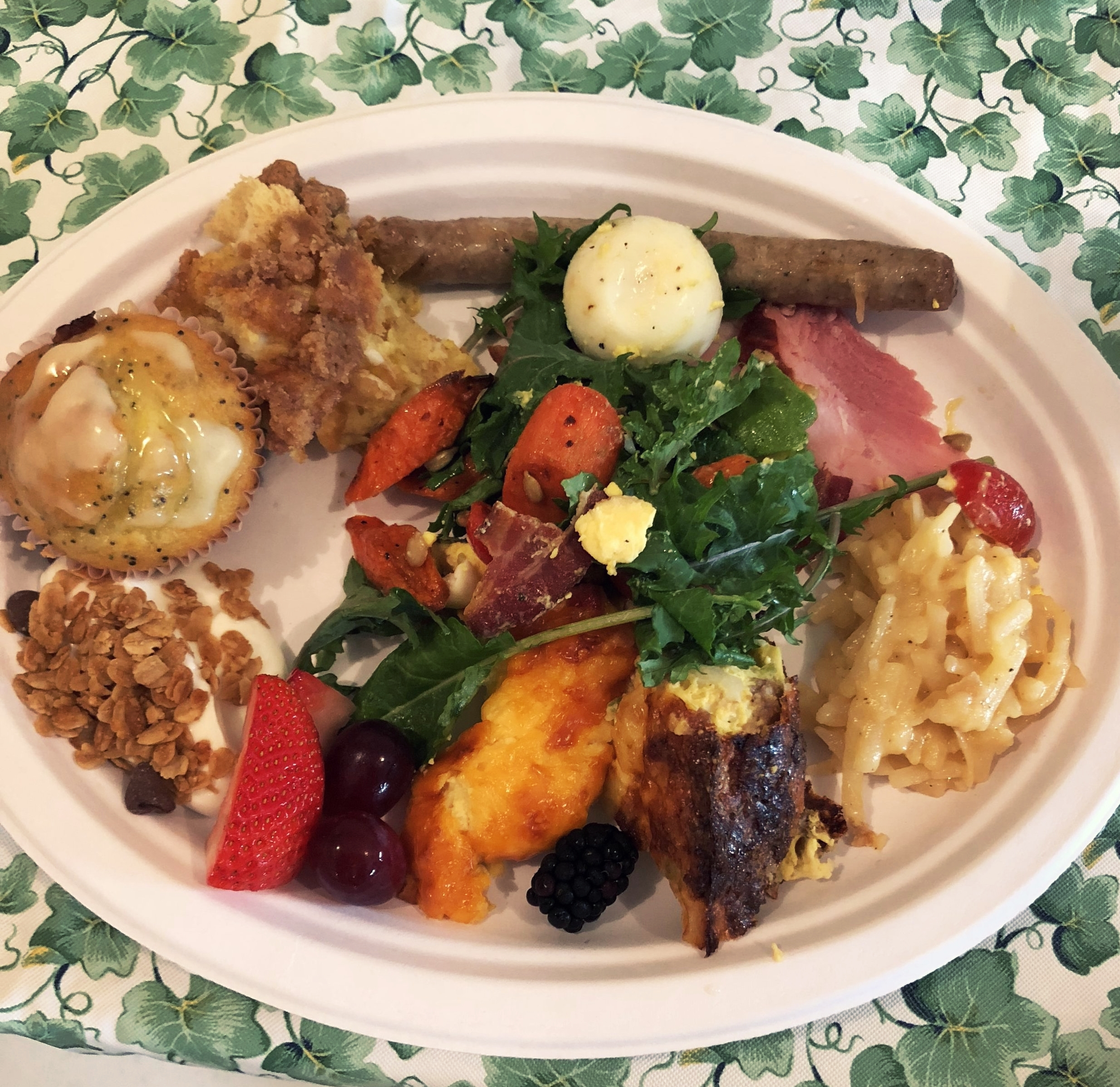 Not the most photogenic but let me tell you this brunch plate made me so happy. And the salad was a hit! It will likely make a return to next year's Easter brunch.