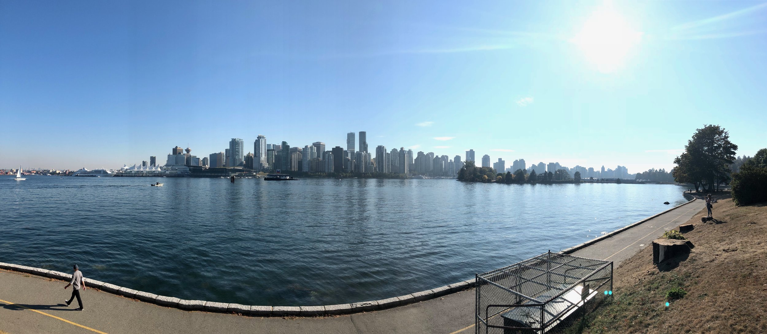 View from the bike bath along the Stanley Park Seawall. You can see the walking path separate from the bike path.