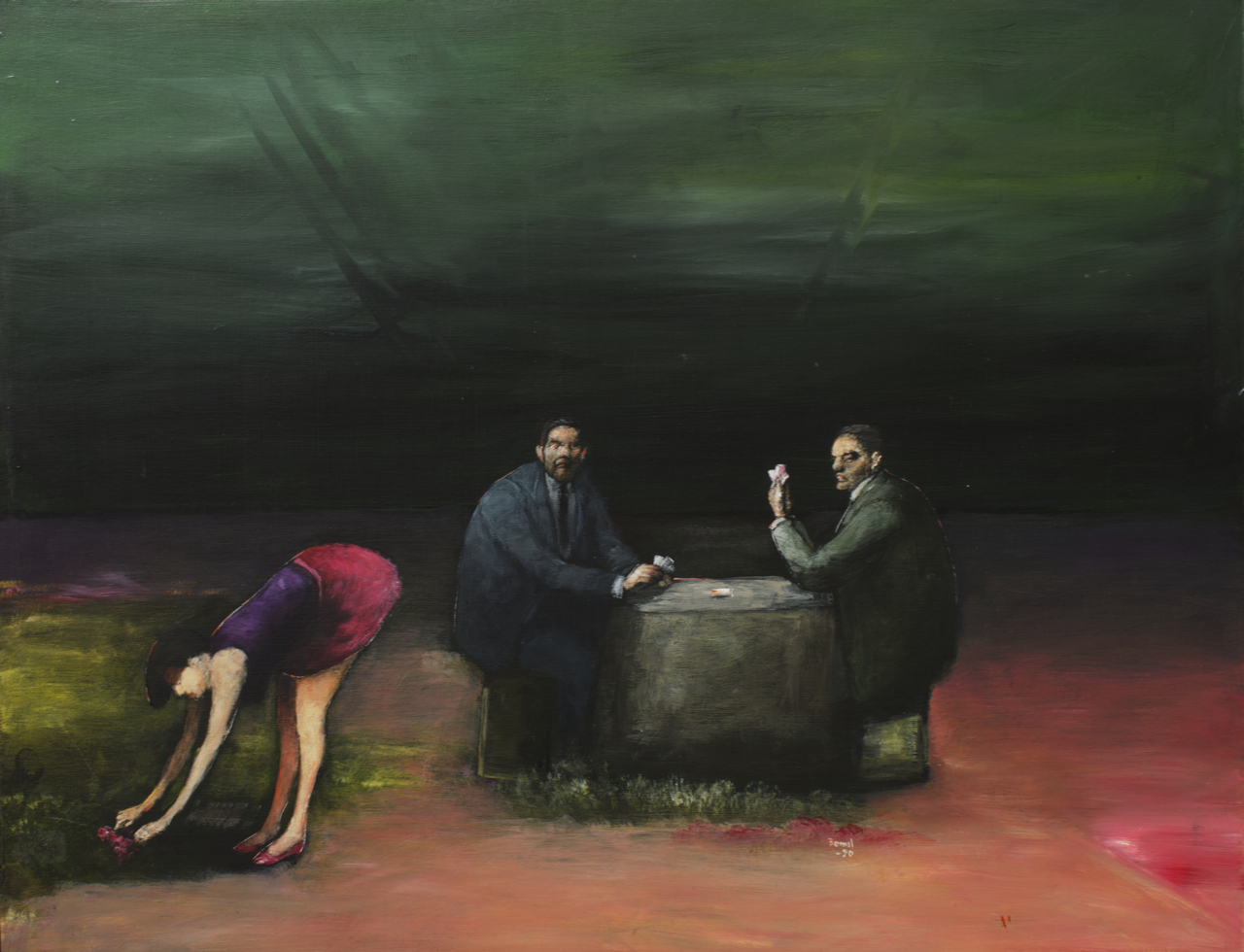 Two Men Playing Cards, oil and acrylic on board, 20x26, 1990