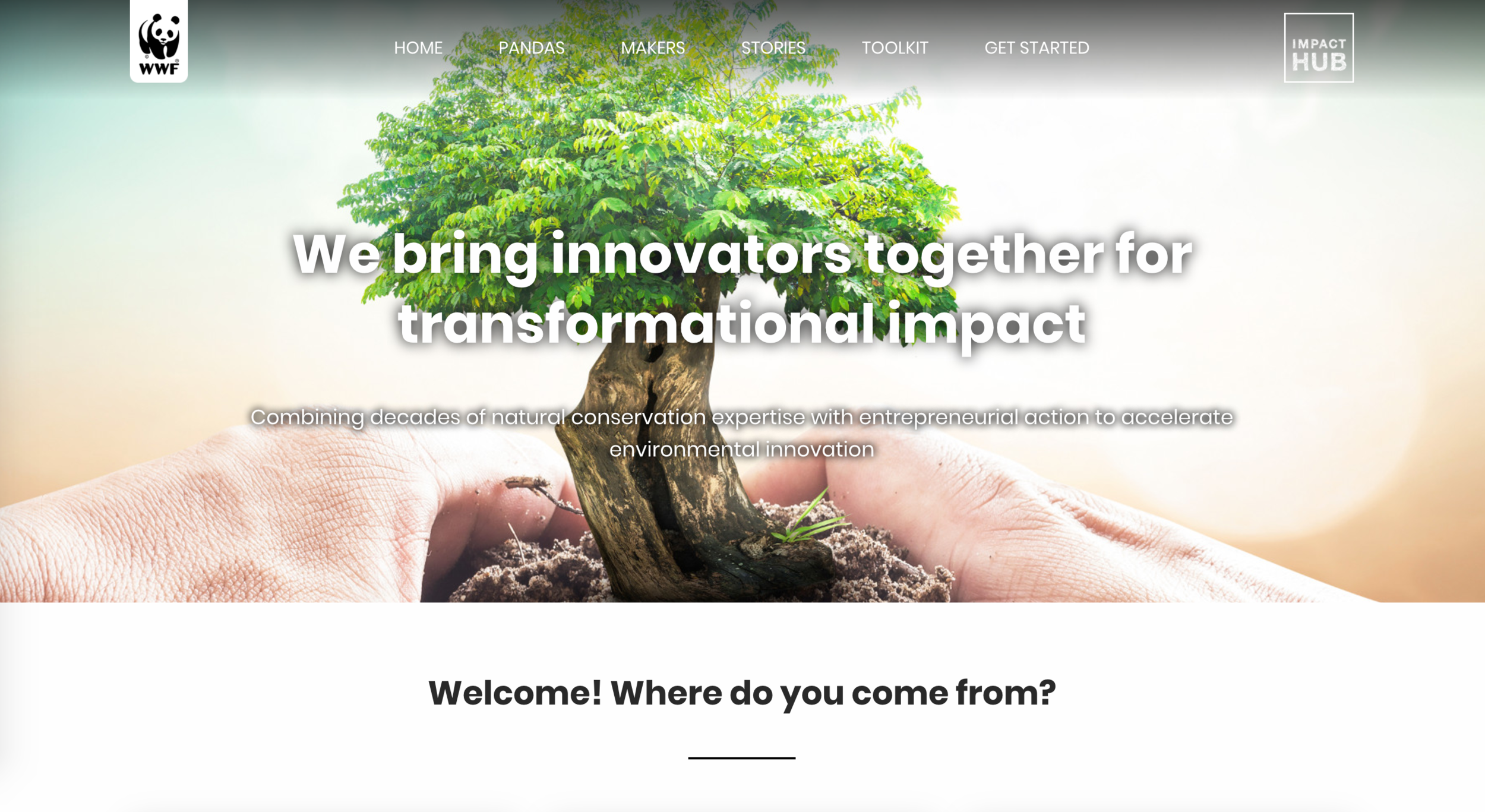 WWFとImpact HUBのグローバルパートナーシップについてのサイト