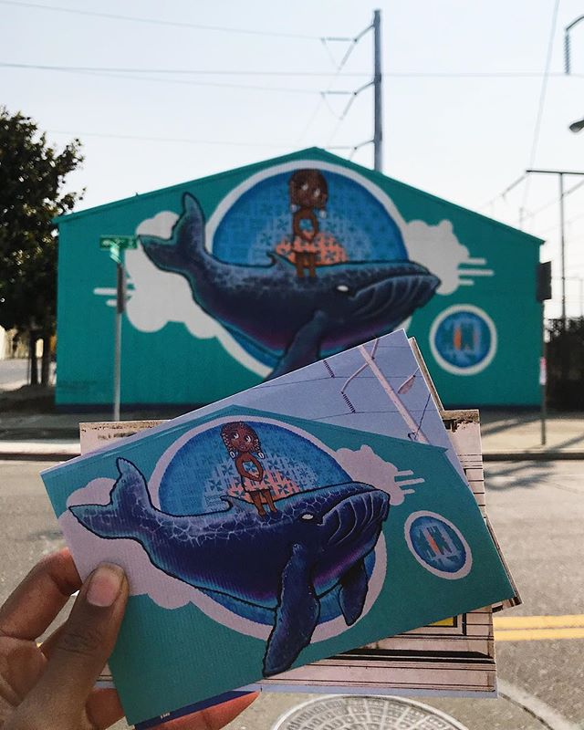 """""""679 is the #Fiji country code. Coupled with the magnolia tree on the left, which represents Louisiana, this building was perfect for our mural."""" 💦 2/9 by Jack and Alise Eastgate @eastrandstudios for #Oakland @bayareamuralfestival at 679 2nd St."""