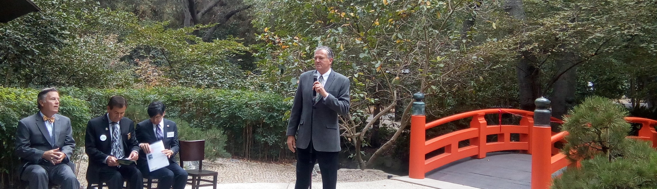 October 16, 2016  CEO of Descanso Gardens David Brown speaks eloquently about the history of the Japanese Garden. The Bridge, installed in 1967 and restored by me for it's 50th anniversary ribbon cutting rededication, was design by Kenneth Nishimoto.