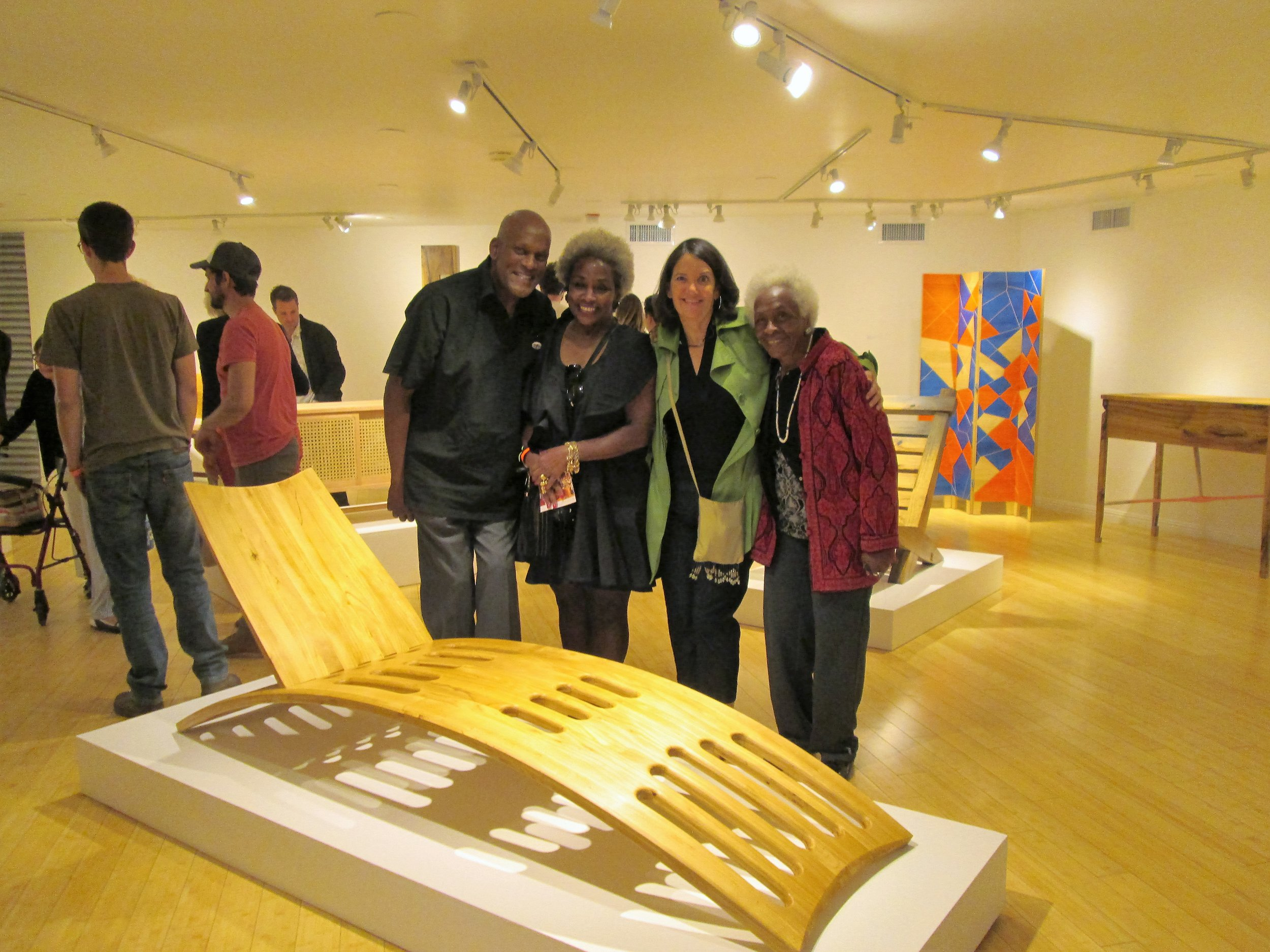 """May 28, 2016  """"Windfall"""" Opening Reception. The exhibition featured work by the members of The Box Collective who salvaged trees that were uprooted during a violent windstorm in the San Gabriel Valley several years earlier. From left to right, me, my sister Linda Greene, my wife Kathleen, and my mother Mariette Greene."""