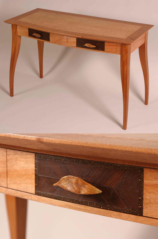 Writing Desk, Mahogany, Cherry, Wenge, Palm wood, Cast Bronze Eucalyptus Leaf Pulls