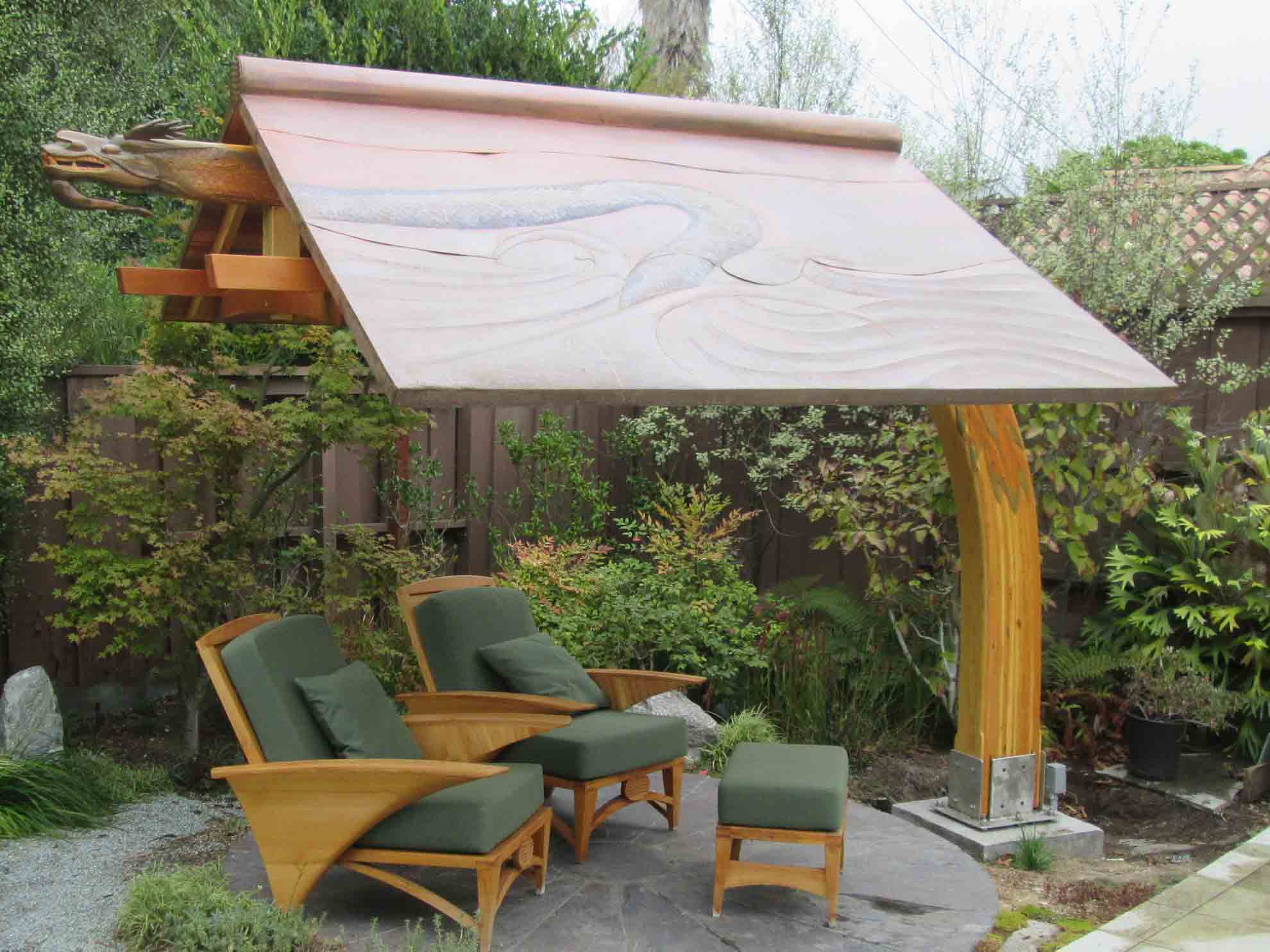 Open Air Tea House  Tapered Bent Laminated Curved Beam, Douglas Fir; hand carved with 3,000 scales + Water Dragon Head.   Canopy, Hammered and shaped Copper by Jason Barr and me  Furniture: Plantation Teak, Port Orford Cedar