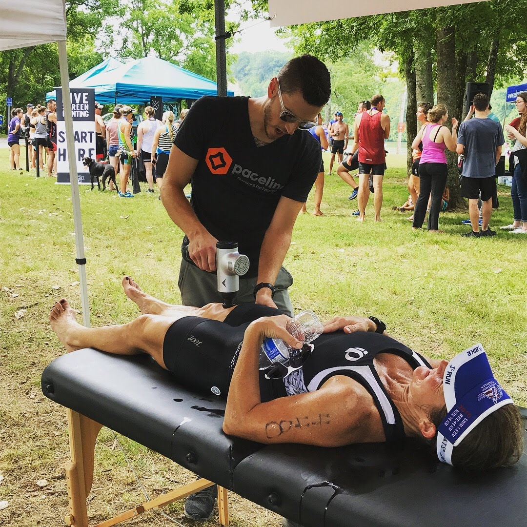 Physical therapy can help you recover faster. Here's a shot of some post race recovery at a local triathlon.