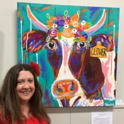 tracey mackie and clover at Textures of One Exhibition 2017.JPG