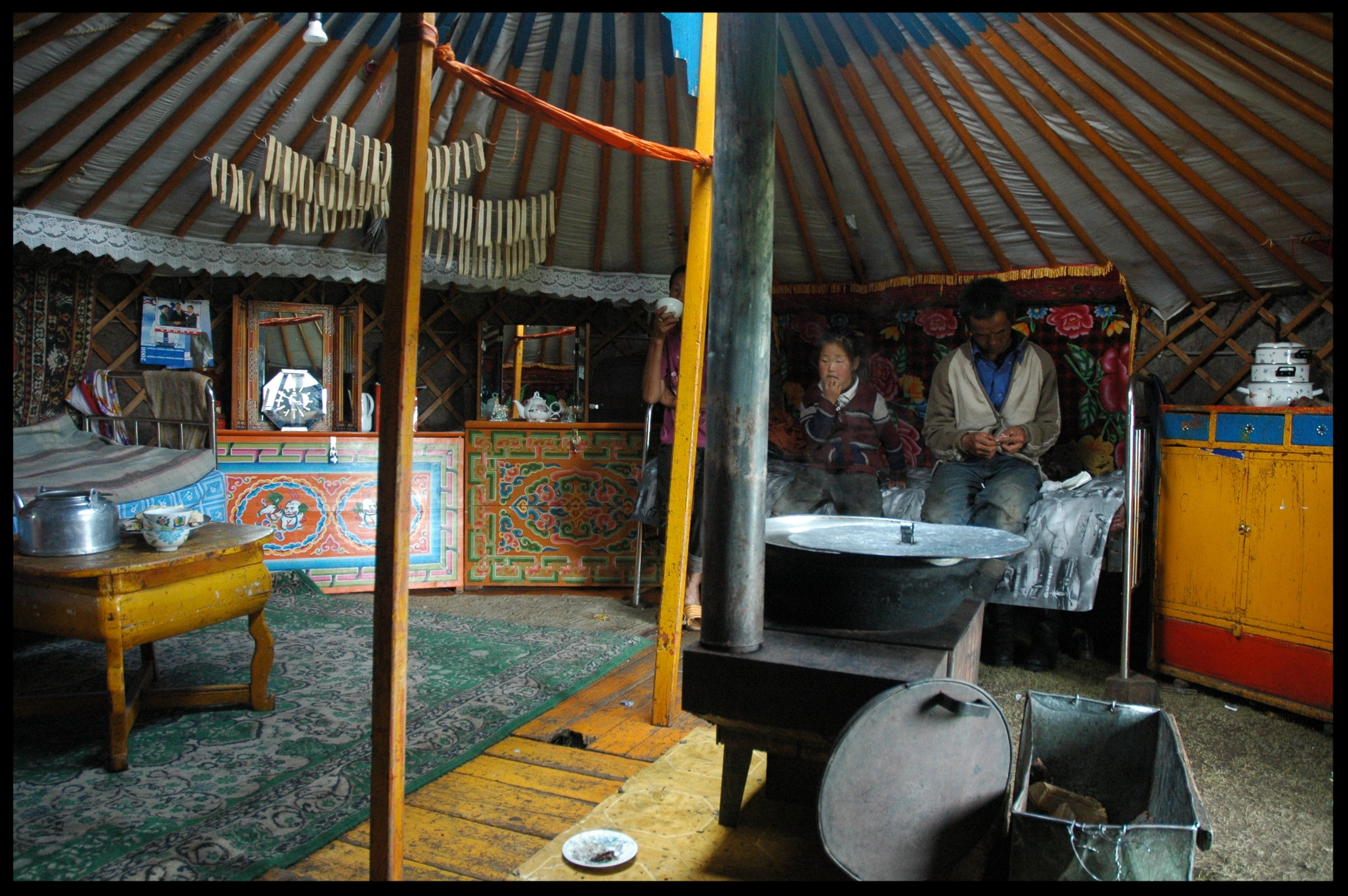 Interior of a family's   ger   in northern Mongolia