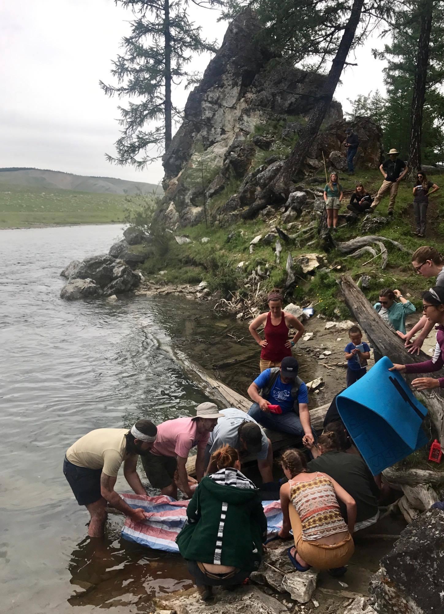 Students practice their wilderness medicine skills during a scenario