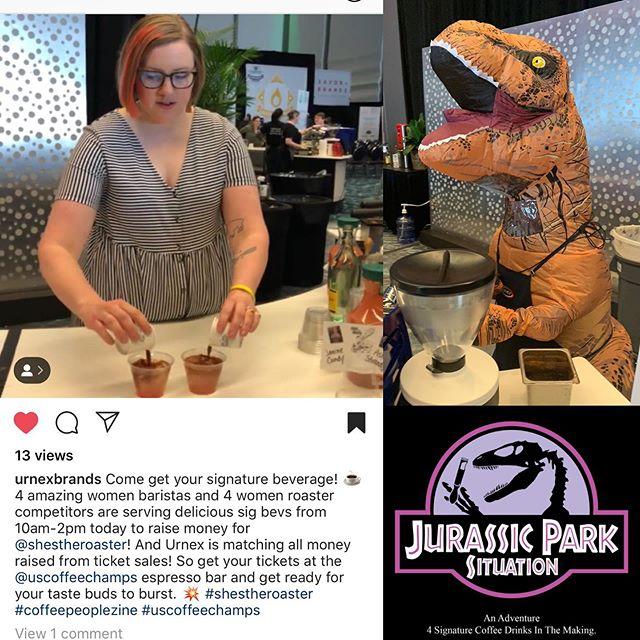 Don't forget to try these tasty bevies created by 4 amazing baristas using coffees from the four womxn roaster competitors. $20 bucks gets you all four drinks. Get thee to the cafe!!! #jurassicparksituation #shestheroaster #uscoffeechamps