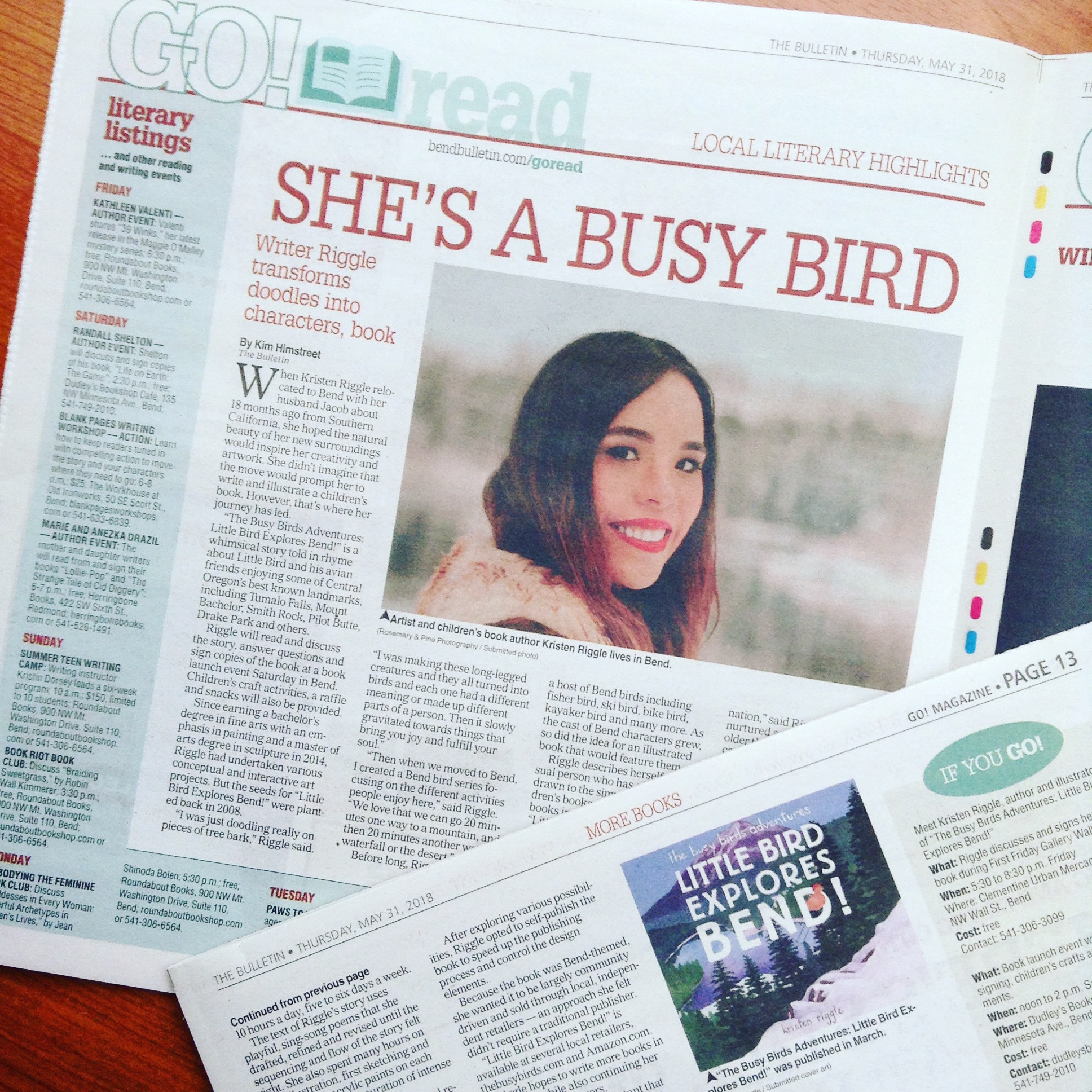 Go! Magazine by Bend Bulletin - An article written by Kim Himstreet that explains my picture book journey from beginning to the launch of Little Bird Explores Bend! (2018)