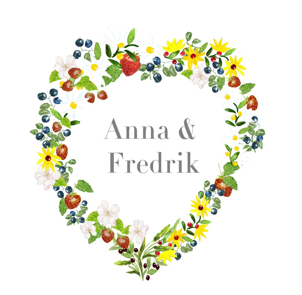 Midsummer Wreath Invitation Card Template Anna Hedeklint Design Illustration