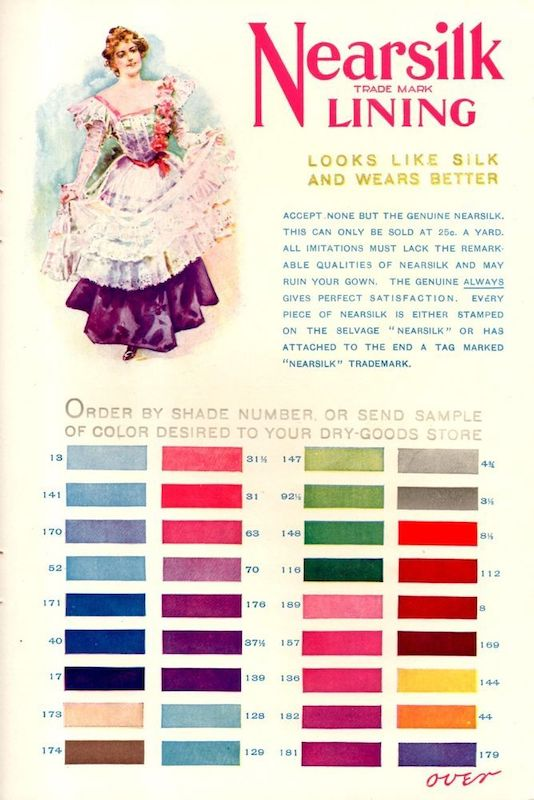 "Advert for ""Nearsilk"" lining fabrics, 1900."
