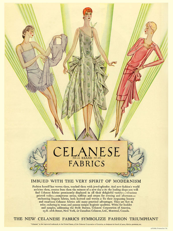 """Imbued with the very spirit of modernism, the new Celanese fabrics symbolise fashion triumphant"" - advert for Celanese (acetate) rayon showing designs for lingerie, day and evening wear, 1928  [Source: Pinterest]"