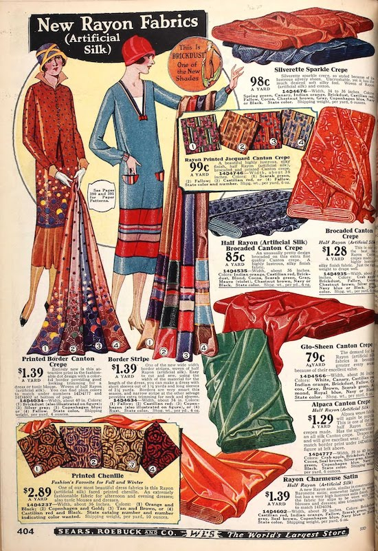 """A page of """"New Rayon Fabrics"""" in a 1925 Sears catalgoue noting the change of name from Artificial Silk"""
