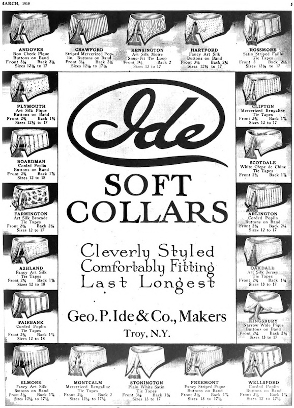 """Art Silk"" collars featured in an advertisement in  Vanity Fair, 1919"