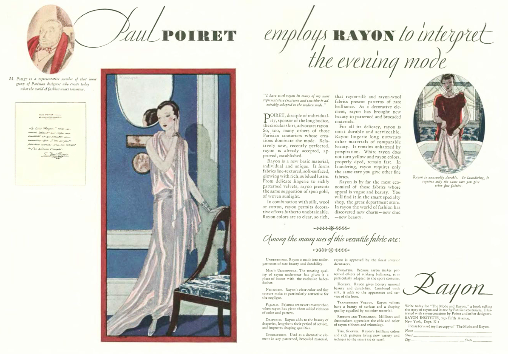 """""""Paul Poiret employs Rayon to interpret the evening mode"""" advert in The New Yorker, 1928 offering readers a free copy of """"The Mode and Rayon"""" booklet."""