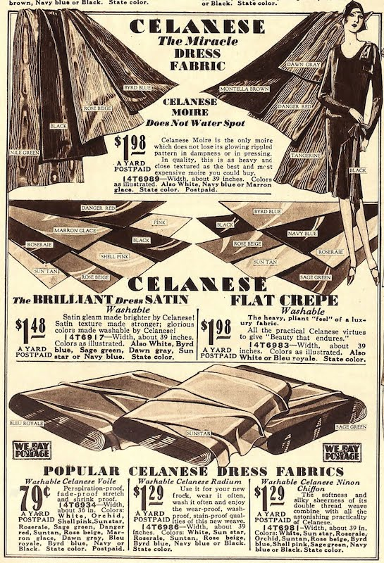 """""""Celanese - the miracle dress fabric"""" in Sears, 1929"""