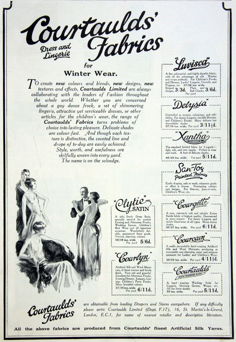 Rayon fabric variety by Courtaulds', including satins, lingerie jersey, and blended wool marocains [ source ]