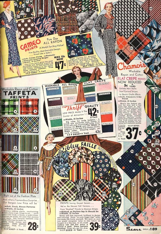 Rayon crepes, taffetas and failles in the Sears catalogue, 1934