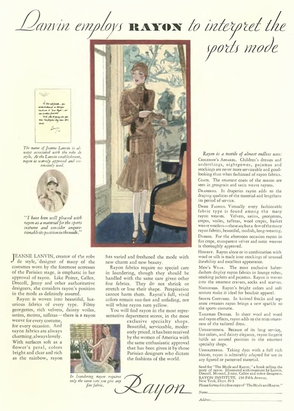 """""""I have been well pleased with rayon as a material […] and consider unquestionable its position in the mode"""" Jeanne Lanvin in an advertising collaboration with The Rayon Institute published in The New Yorker magazine, 1928"""