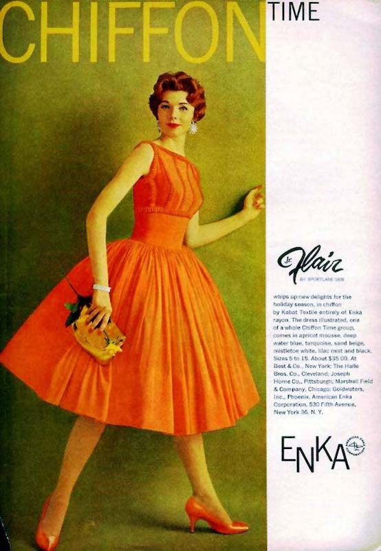 Chiffon dress made from Enka rayon, 1950s [ source ]