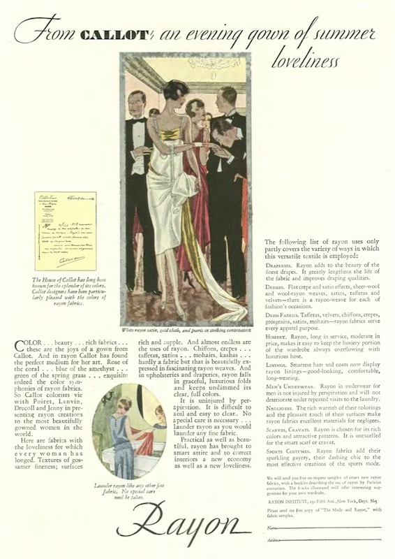 """""""Exquisite indeed the colour symphonies of rayon fabrics"""" - Callot Soeurs in an advertising collaboration with The Rayon Institute, published in The New Yorker magazine, 1928"""