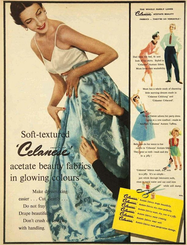 """""""Soft-textured 'Celanese' acetate beauty fabrics in glowing colours"""" c1950 [source: Pinterest]"""