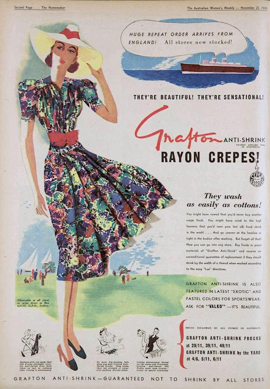Grafton rayon crepes in  Australian Women's Weekly , 1939