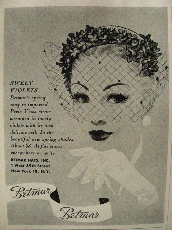 Visca straw hat by Betmar, Harper's Bazaar, 1955 [ source ]