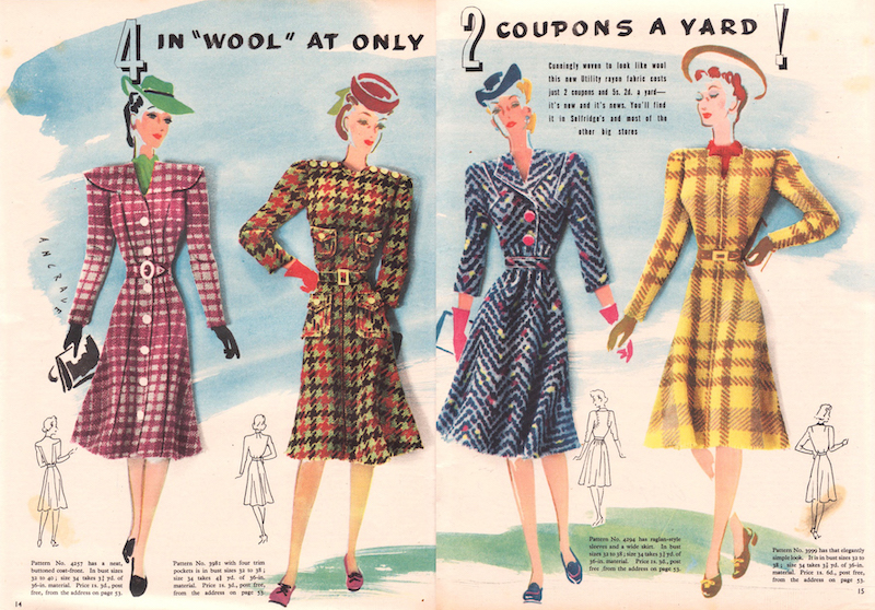 """""""In 'Wool' at only 2 coupons a yard!"""" spun rayons in Everywoman magazine, 1943"""