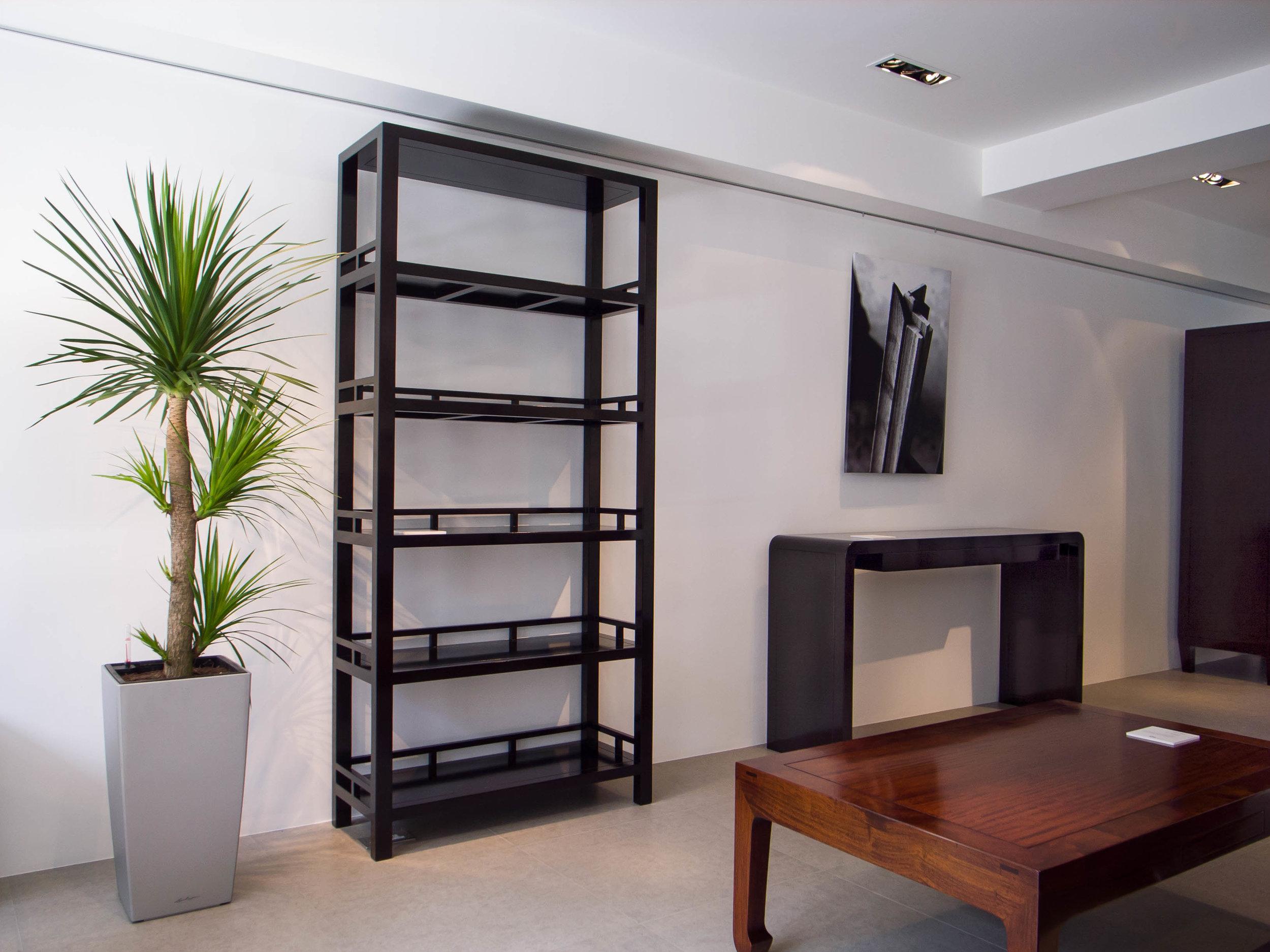 ....furniture setting : modern chinese style shelf, ming style coffee table, modern chinese console table..展廊家具陈设 :现代中式书架,明式咖啡台,现代中式条桌....