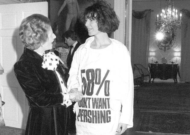 Katherine confronts Margaret at No.10, her tee shirt explaining some facts about the publics views. This is still going on, and this pressure still relevant, but with different dramas too in play.. Is Thatch' wearing Viktor&Rolf, for example?