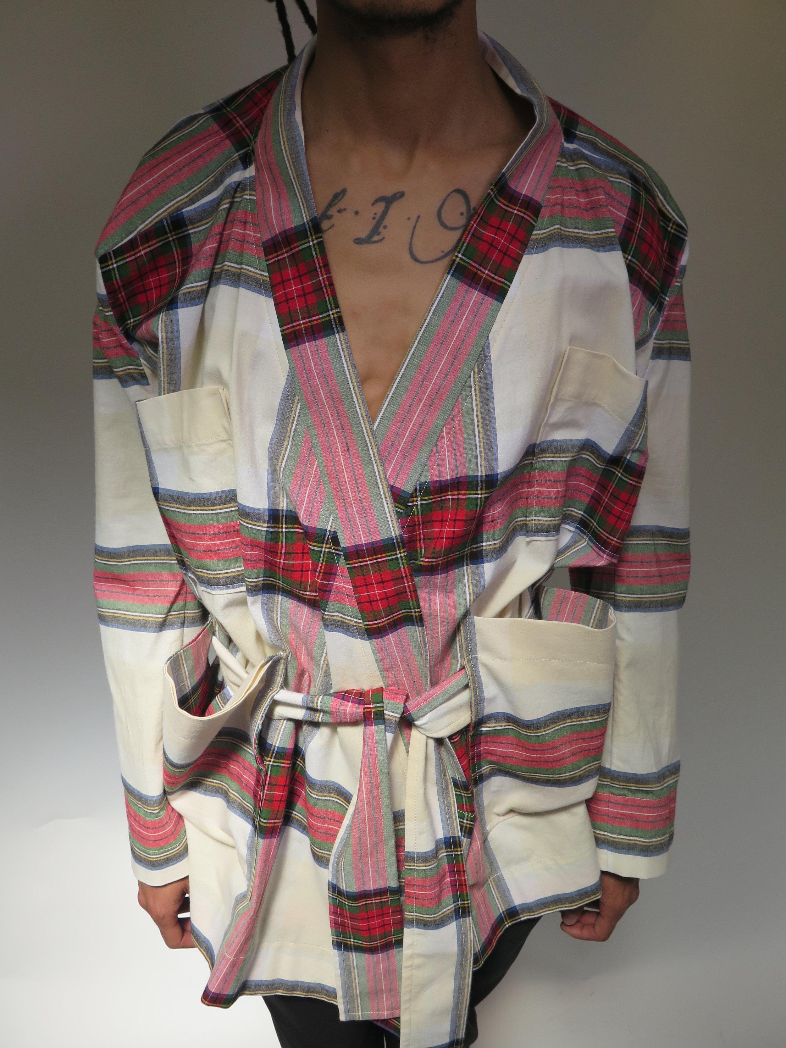 Viv's own tartan in kimono jacket form (right). Also did a Kimono jacket in hemp. -