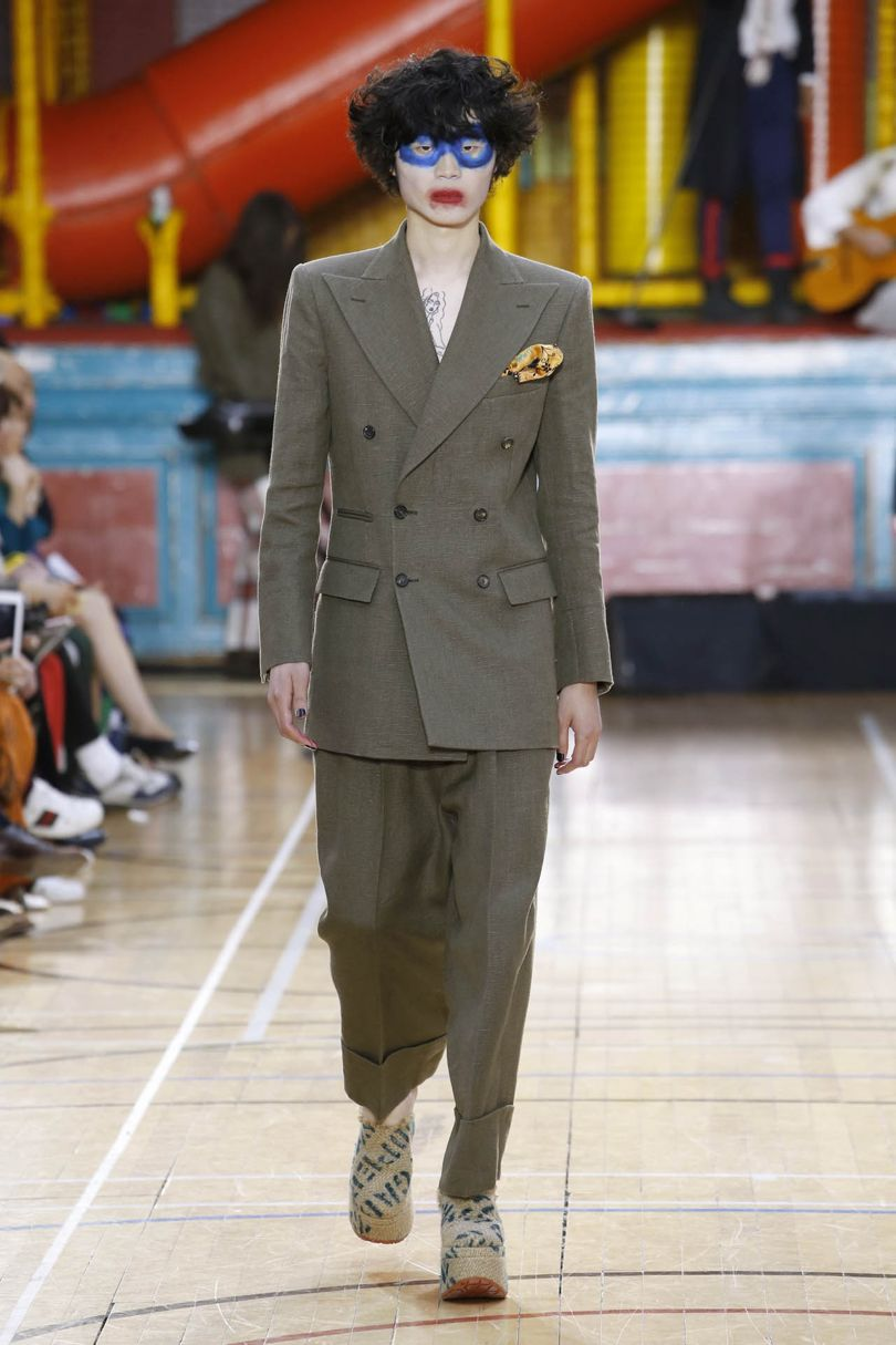 Spring Summer 2018 Mens- as part of hemp project- Loving Vivs lapel and shoulder statements. Bless him, he's gotta work on his eye-shadow technique- but its good to start and be bold, right?