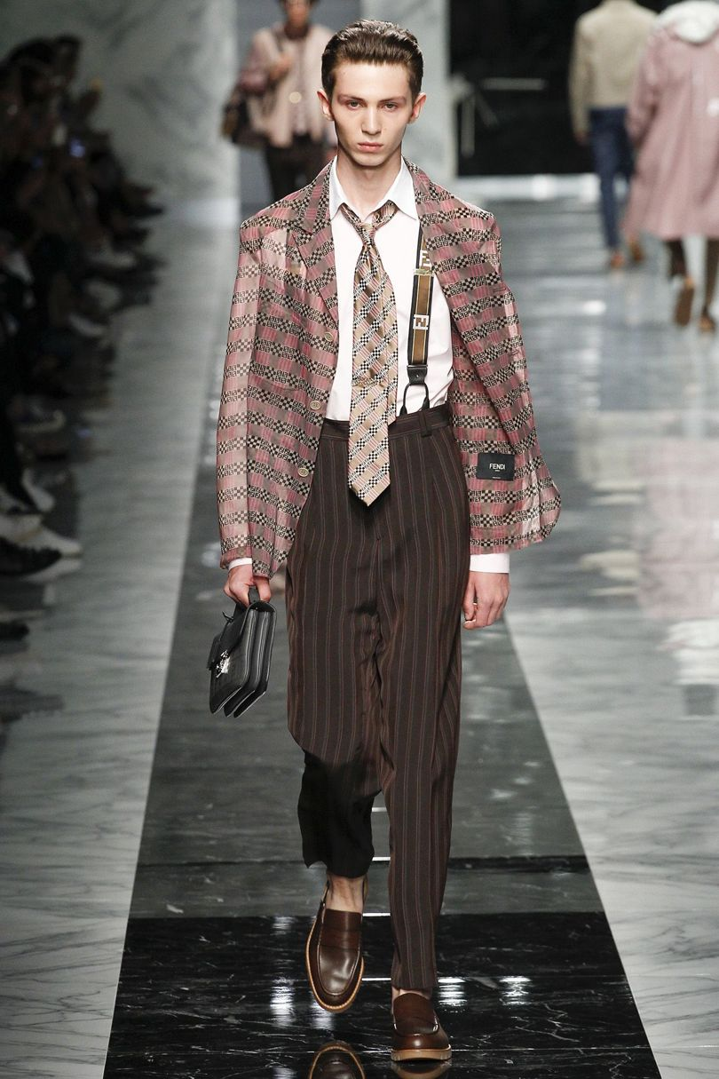 Fendi SS18 was the best show of the season. The electric mix of bold prints, wicked pleated strides, tracksuit inspired suede bloussons and 'Wall Street on the way the beach' was ratcheted further with bad- boy braces. Julian Ganio styled it - the man is super hot style maestro, yeah? -