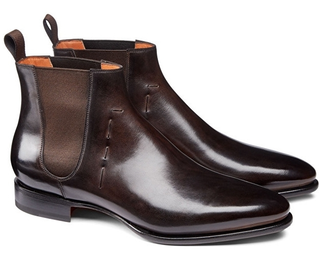 Santoni. - these dont have much of a heel, but are wicked with a suit.  Just check the pat' on that.